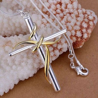 P088 fashion jewelry chains necklace 925 silver necklace silver pendant Separations twisted rope cross /aiva jaca