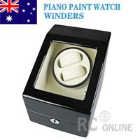 ALG Luxury Gift Black Wood Automatic Dual Watch Winder Display Box