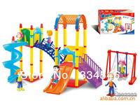 Free Shipping DIY Amusement Park Slide Children's Educational Plastic Building Block Brick Toy