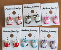 Wholesale 12pcs/Lot  Vintage Cute Diamante Owl Stud Earrings in 6 Gorgeous Candy Colors Perfect Gift Idea