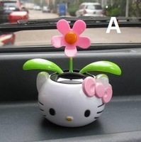 Free shipping auto car Swing Solar Flower Car decoration Dancing Swing toys cool kitty cat/duck//CAT/flower style 4 PCS/SET