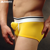 Male panties double u bag 100% cotton male boxer panties sexy male underpants