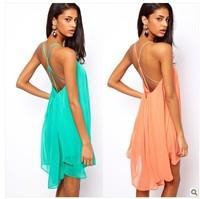 irregular hem dress green chiffon dresses short skirts women 2013 backless tops-042