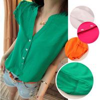 2013 plus size solid color basic shirt short-sleeve V-neck candy color white shirt female shirt