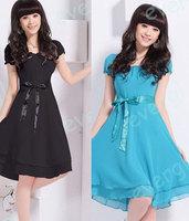 Candy Color Lady Style Tiered Sleeve Chiffon KneeLength Pleated Slim Waist Dress