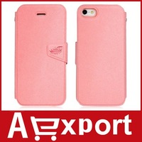 Ultra-Thin Faux Leather & TPU Rubber Protective Flip Case for iPhone 5 (Pink) free shipping