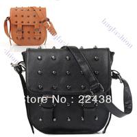 New Fashion Women's Leather Rivets shoulder bag Cross Body Bag Shoulder Bag casual girl backpack messenger bags 9502