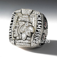 Free Shipping replica rhodium plated 2010 Chicago Blackhawks Stanley Cup Hockey world Championship Ring size 10.25