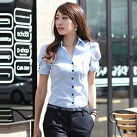 Shirt female fashion summer short design short-sleeve formal V-neck work wear commercial ol formal work wear plus size