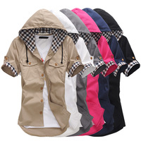 2013 Spring and Autumn shirt  Men Unique design hooded shirt was thin tight Couple Short sleeve shirt  Six colors Size: M-xxl