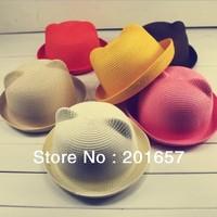 Fashion Women Wide Large Brim Floppy bohemia cat ear bunny ear adult Sun Straw Hat Cap Free Shipping