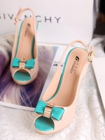 2013 women's shoes summer candy color japanned leather bow sandals sweet anti-slip soles platform thick heel high-heeled shoes
