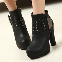 Fashion thick heel platform boots rivet boots small high-heeled shoes small yards 34
