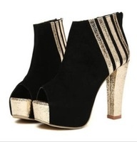 2013 spring and summer stripe all-match thick heel platform high-heeled shoes open toe sandals cool boots women's shoes