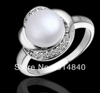 New arrve  outer surface is covered with silver inlaid Austrian crystal pearl fashion lady ring     C031