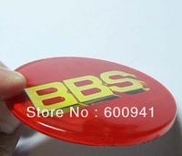4PCS BBS 69.5MM Car MotorWheel Center Emblem Badge Aluminum ACRYLIC Red Gold  Flat Surface