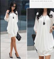 Women's Korea Trendy Chiffon Party Club Boho Casual Crew Neck Mini Dress White