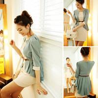 New Womens Korean Fashion OL Fifth Sleeve Two-piece chiffon Shirt + Dress