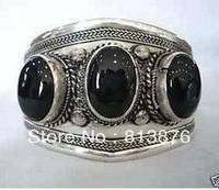 Tibet silver black jade cuff bracelet