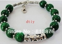 LOVELY NEW IN TIBET STYLE TIBETAN SILVER MALACHITE BRACELET