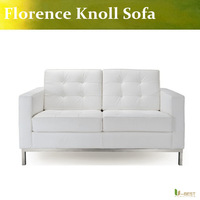 White leather modern classic contemporary reproduction retro furniture Florence Knoll Loveseat,Knoll 2 Seater Sofa