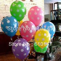 Free shipping 100pcs/lot mixed colors Polka dot balloon candy color 12 inch dot balloon wedding decoration props