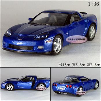Soft world kinsmart veidt corvette z06 blue alloy car models