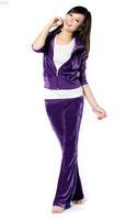2013 autumn and winter velvet set chromophous 1019 velvet set casual female set