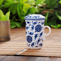Jingdezhen ceramic glaze blue and white porcelain teacup piece set gift cup gift box cb004