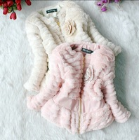 Free Shipping Hot Sale 13 Autumn Winter Girls Faux Fur Coat Children Fashion Flower Outerwear Jackets Toddler Kids Coat 3pcs/LOT
