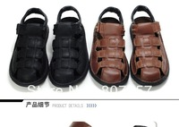 2013 Fashion brand Men outdoor casual bag toe summer beach antiskid Ankle Wrap Cow leather big size wading sandals shoe,US7-15