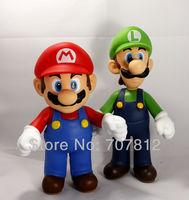 Free Shipping High Quality 2 PCS SUPER MARIO BROTHERS BROS YOSHI LUIGI COLLECTION FIGURE TOY 9'' 23CM