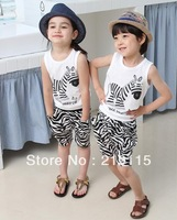 2013 Korean version of cotton short-sleeved track suit pants suit Free Shipping