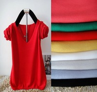 2012 V-neck autumn and winter sweater all-match knitted cotton thick yarn gentlewomen basic shirt sweater