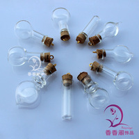 8MM Glass Vials With Golden Ring Corks Glass vials pendants Twilight Necklaces Name On Rice Vial Jewelry