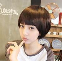 Girls wig short hair bobo bangs fluffy repair the oligomerization