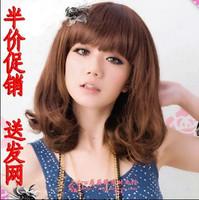Medium-long curly hair wig pear straight hair wig