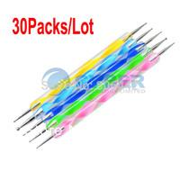 30Packs/Lot 5x 2way Dotting Pen Marbleizing Tool Nail Polish Paint Manicure Dot Free Shipping
