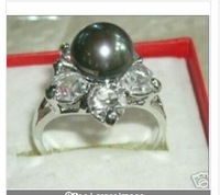 free shipping natural AAAA 9-10mm south sea black pearl ring size