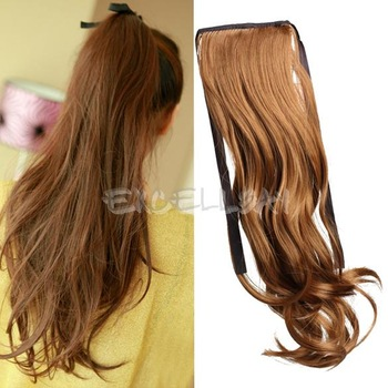Long Curly Girl Big Wavy Ponytail Wigs Pony Hair Hairpiece Extension Flaxen E1Xc