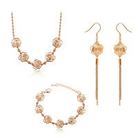 min.order $10(mixed styles) Jewelry fashion rose camellia necklace earrings bracelet set accessories set jewelry set