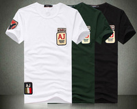 2013 new arrival o-neck short-sleeve sport brand t shirt plus size M-XXXL-XXXXL white green black