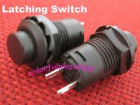 100pcs, Black Locking Latching OFF- ON Push Button Car/Boat Switch 12mm
