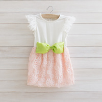 freeshipping new arrival high quality korean Disk flowers flying sleevele with big Butterfly girl dress szie 90-130