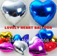 100pcs/Lots! Factory wholesale! 18'' Lovely Heart Foil Balloons,Festival Balloons,Wedding,Celebration,Party,Big Events
