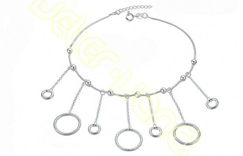 New Arrival Adjustable Length Anklets for Women's Girl's 26cm Sliver Filled  Anklets w Cute Circle Charms ZL09