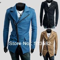 Free Delivery 2013 New Three-pocket Design Oblique Zipper Men's Casual Trench Coat,Color:Black,Khaki,Sky blue,Size: M-XXL
