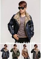 Hot Fashion Locomotive Big Fur Collar Men Plus Cotton Leather Coat,Man Leather Jacket Coat,Free Delivery,4 Color,Size:M/L/XL/XXL