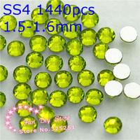 A++ non hotfix rhinestones SS4(1.4--1.6mm) olivine rhinestones 1440pcs/lot