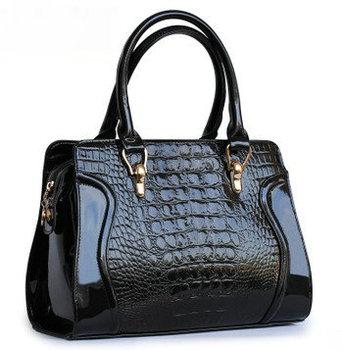 2015 handbag female japanned leather crocodile pattern handbag women's bags smiley cross-body bag
